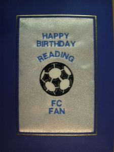 PERSONALISED EMBROIDERED READING FC CARD - FOOTBALL